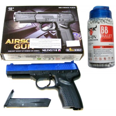 CCCP FN5710 Small Spring Powered Blue Plastic BB Gun Pistol & 2000 Pellets