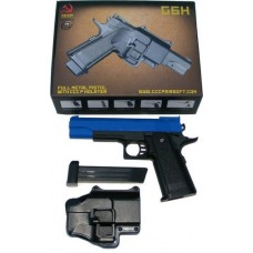 Galaxy Powered G6H Metal + Plastic Spring Powered Blue BB Gun Pistol + Holster