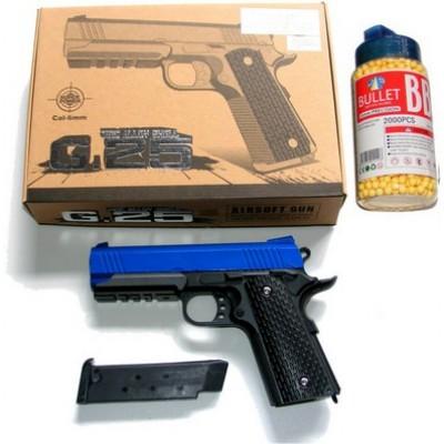 Galaxy G25 Spring Powered Blue Metal BB Gun Pistol 290 FPS & 2000 Pellets