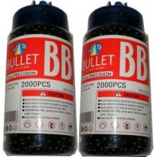 2 Tubs of 2000 Black 0.15g Plastic 6mm BB Gun Pellets (4000 Pellets)