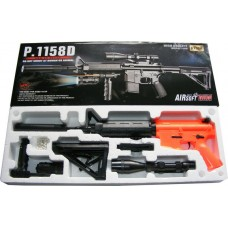 P1158D Spring Powered Plastic Airsoft BB Gun Rifle with Torch & Sight 280 FPS