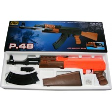P48 AK47 Spring Powered Plastic Airsoft BB Gun Rifle with LED Torch 280 FPS