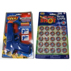 7 Inch Blue Plastic 8 Shot Cap Gun Pistol & 160 Caps