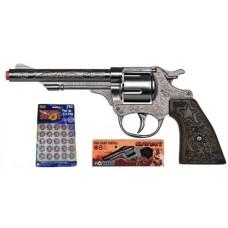 Gonher 20.5cm Diecast Metal 8-Shot Cowboy Style Cap Gun Pistol & 160 Caps