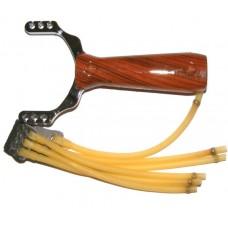 Metal & Plastic Slingshot Catapult - Wood Effect Handle